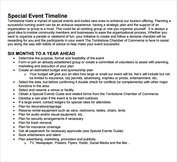 Sample Event Timeline   Documents In Pdf Word