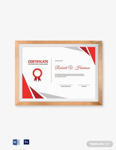 sports day excellence certificate template