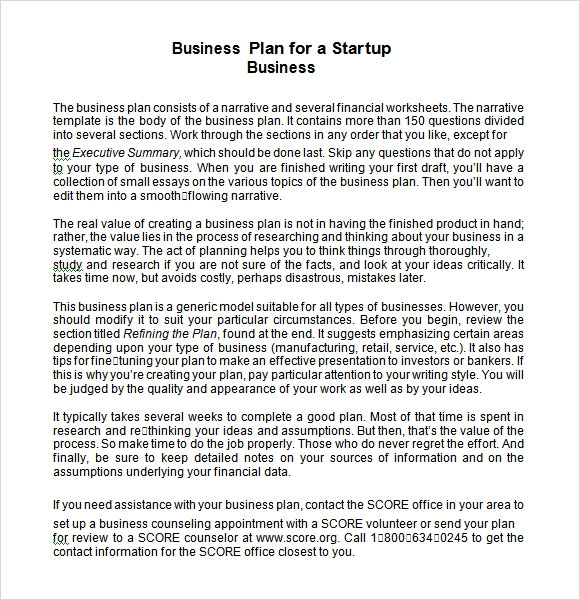 startup business plan sample