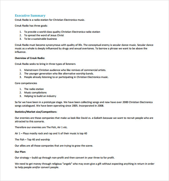 Music business plan sample pdf document