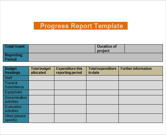 Sample Progress Report 7 Examples Format – Progress Status Report Template