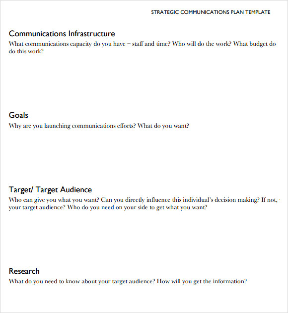 8 sample communication plans sample templates for Marcom strategy template