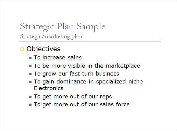 Sales Plan Format Sample One Page Strategic Plan  Strategic