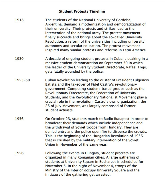student protests timeline template