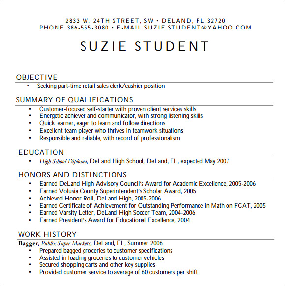 Resume for High School Student