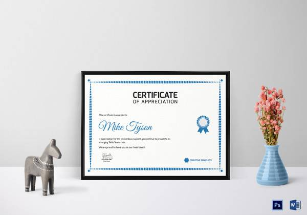 21 certificate of appreciation templates free samples table tennis appreciation certificate template pronofoot35fo Gallery