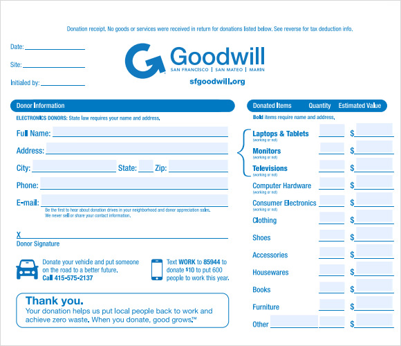 Tax Deductible Receipt Template