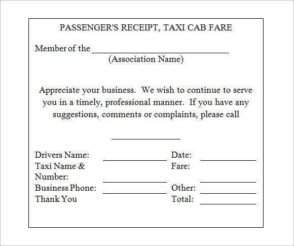 Similiar Taxi Receipt Template Keywords