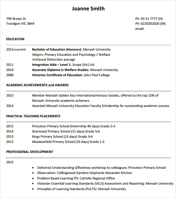 10 teacher resume templates  u2013 samples  examples  u0026 format