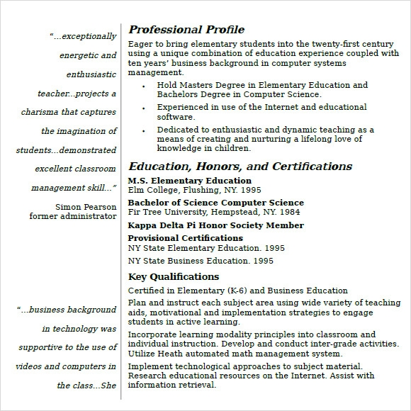 teacher resume template word