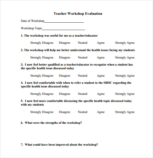 teacher workshop evaluation form