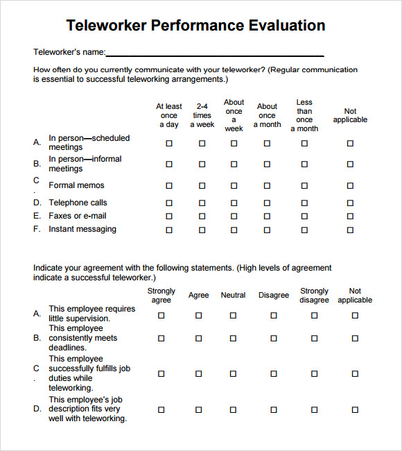 Performance Evaluation Annual Employee Performance Evaluation
