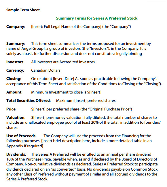 term sheet template free