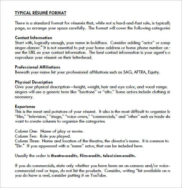 FREE 5+ Acting Resume In Samples, Examples, Templates