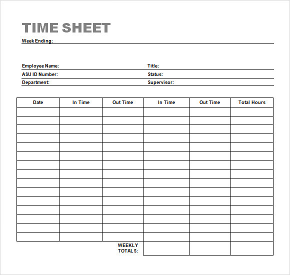 Sample Time Sheet   Example Format