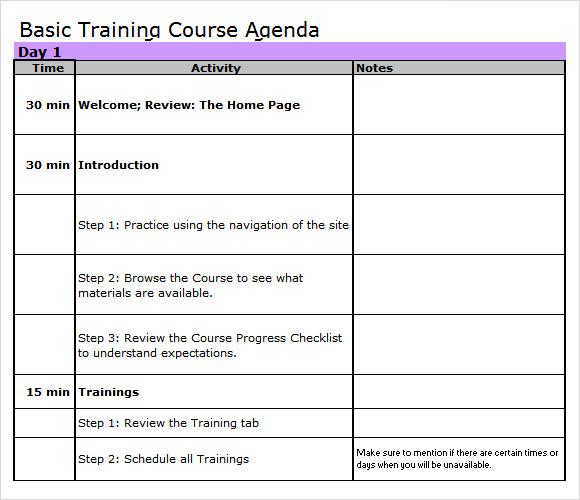 training agenda 8 free samples examples format sample