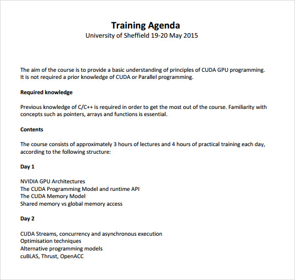 Sample Training Agenda -7+ Example, Format