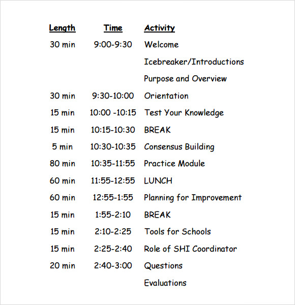 Sample Training Agenda 7 Example Format – Classroom Agenda Template