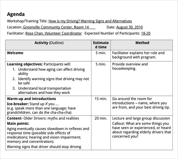 Sample Training Agenda 7 Example Format – Microsoft Word Agenda Templates