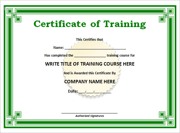 Free Training Certificate Template