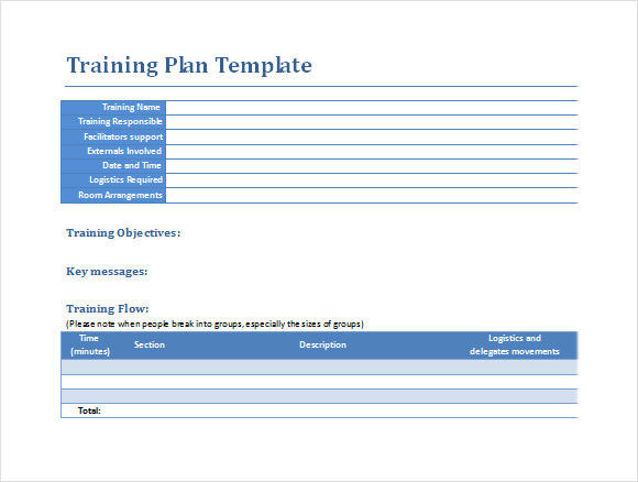 Sample Training Plan   Example Format