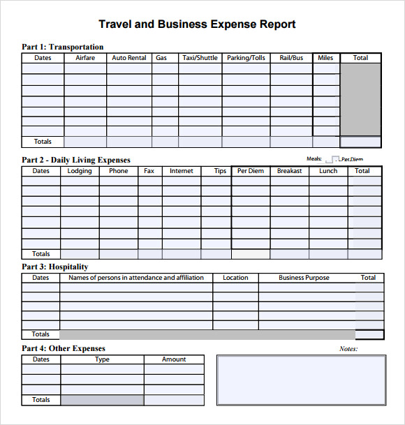 Travel Expense Report Template  Expense Report Example
