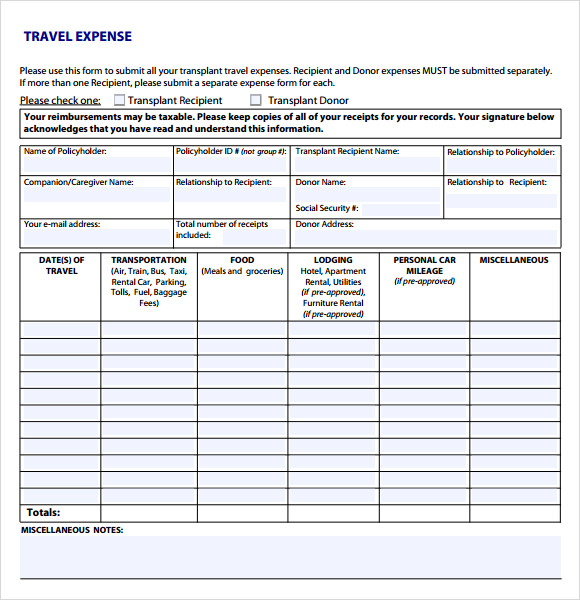 Travel Expense Sheet Template  Expenses Sheet Template