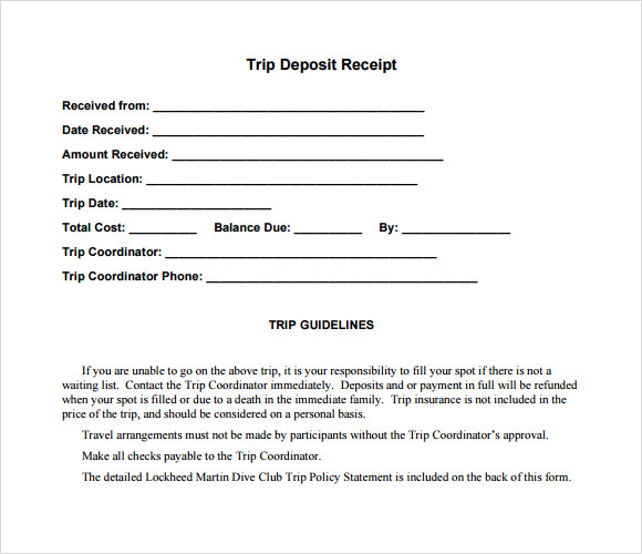 printable receipts template contract .