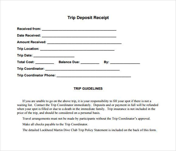 8 Deposit Receipt Templates Free Samples Examples Format – Sample Deposit Receipt