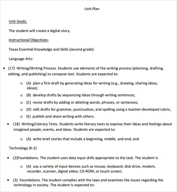 Teacher Unit Plan Template  BesikEightyCo