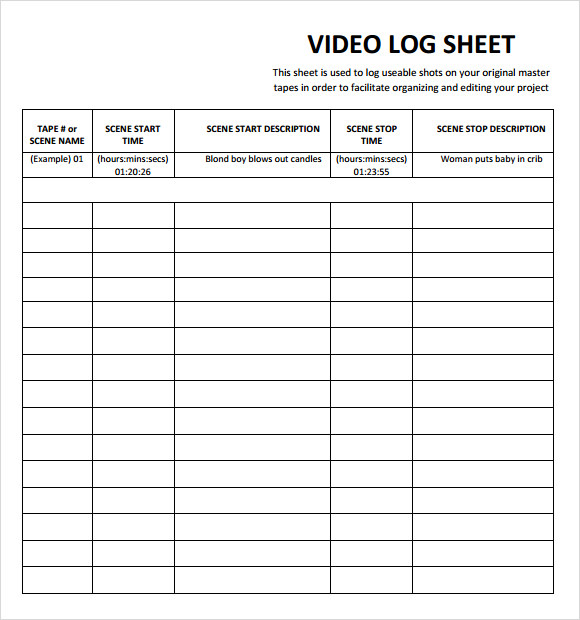 Sample Log Sheet Driver Log Sheet Template Sample Log Sheet