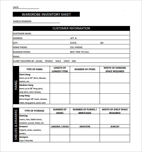 Wardrobe Inventory Sheet Free Download. WARDROBE INVENTORY SHEET  Inventory Sheet Template Free Download
