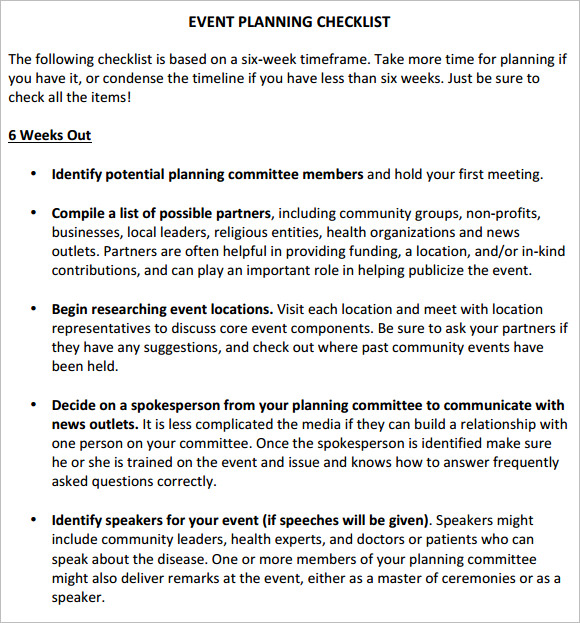 wpd event planning checklist