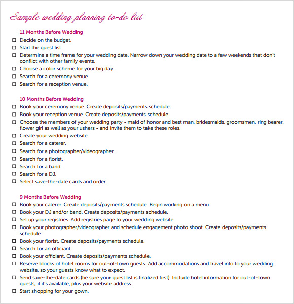 Sample Wedding Planning Checklist   Example Format