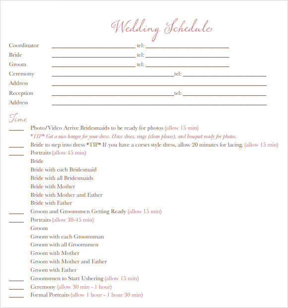 Wedding Schedule Of Events  EnderRealtyparkCo