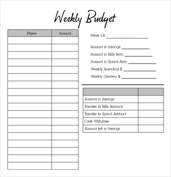 Sample Weekly Budget   Documents In Pdf Word