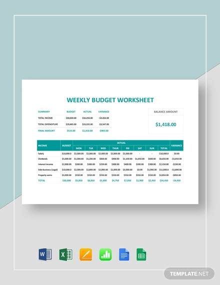 10+ Weekly Budget Samples, Examples, Templates - Word, PDF