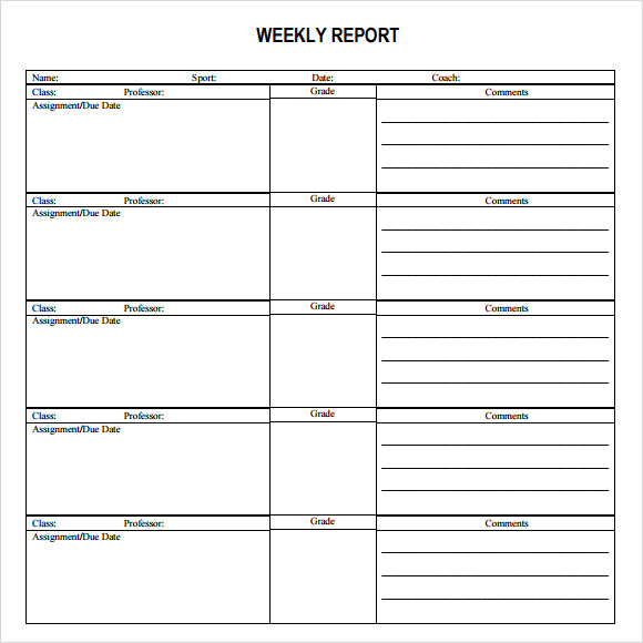 Sample Weekly Report Template   Free Documents In