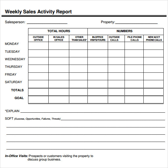 Sample Sales Report Example Format – Sample Weekly Report