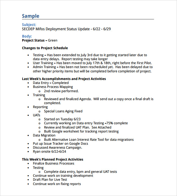 Sample Status Report   Example Format