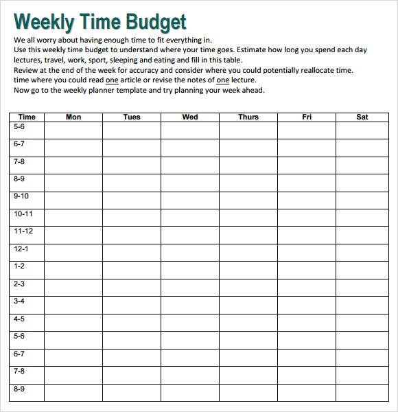 Sample Weekly Budget - 7+ Documents In PDF, Word