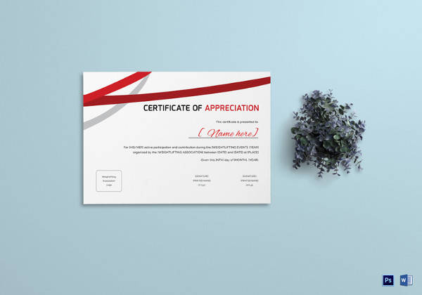 weightlifting appreciation certificate template