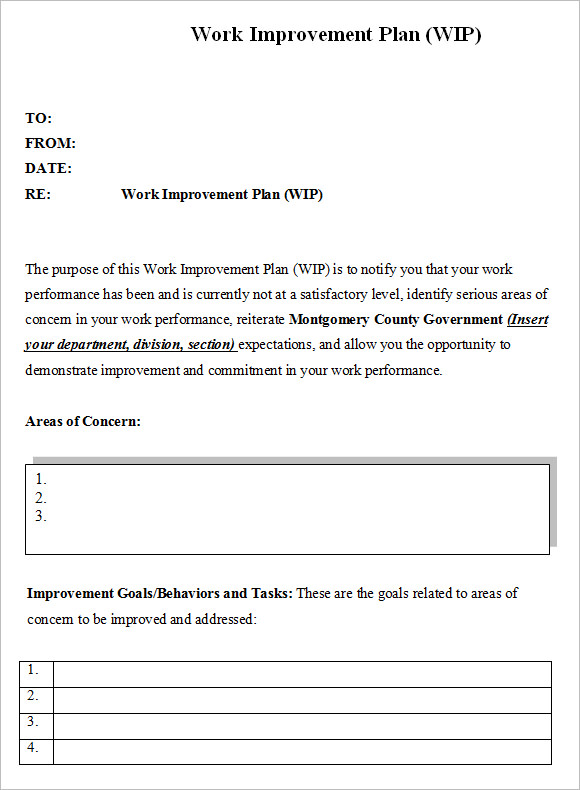 Performance Improvement Plan Template  BesikEightyCo