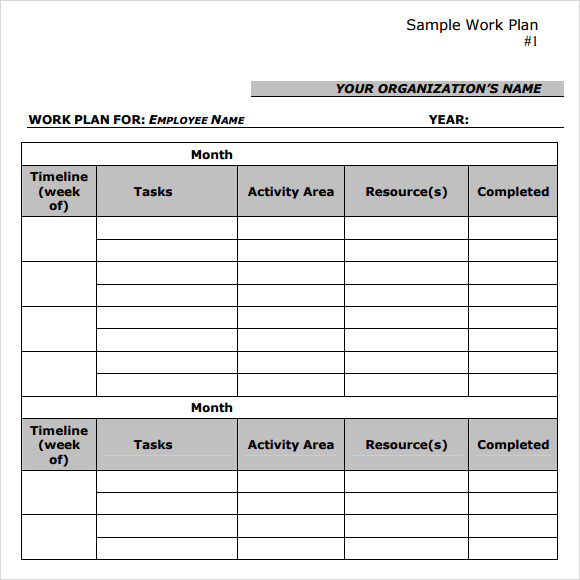 Sample Work Plan Template  Proposal Of Work Template