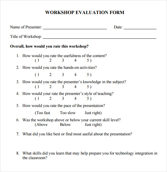 Sample Workshop Evaluation Form 10 Documents In PDF Word – Sample Evaluation