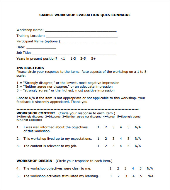 Sample Workshop Evaluation Form   Documents In Pdf Word