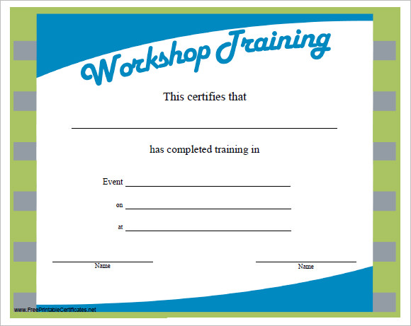 23 training certificate templates free samples for Training certificate template free