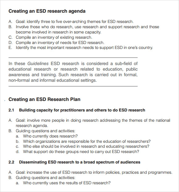Sample Research Agenda - 8+ Examples, Format