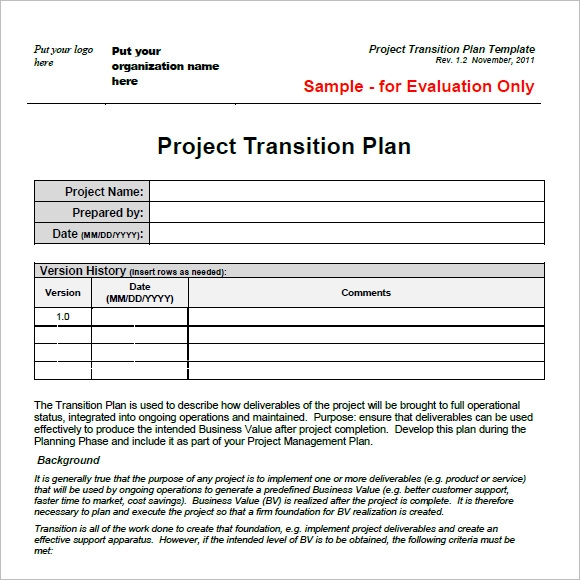 business process transition plan template - project transition plan