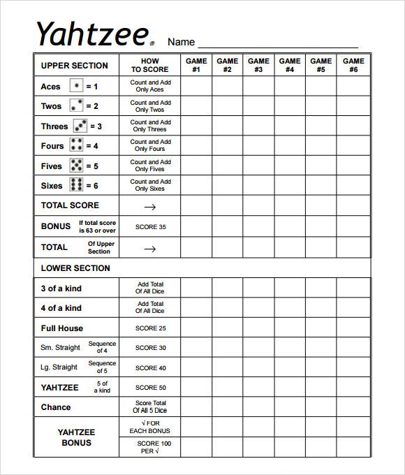 Pin Free Printable Sheet Yahtzee Score Card on Pinterest